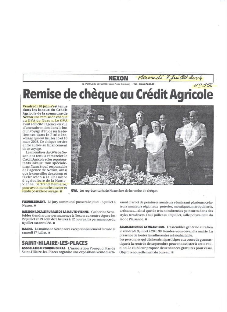 Remise de chèque au Crédit Agricole - Le Populaire Du Centre - Juillet 2004