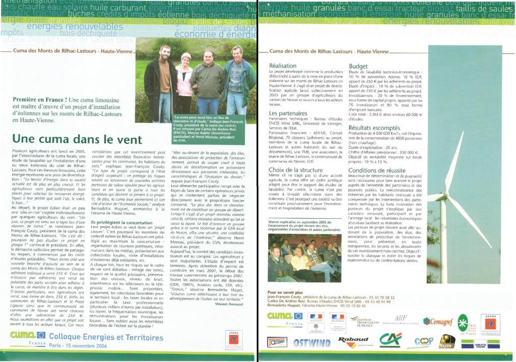 Colloque Energies et Territoire - Novembre 2006 - Une cuma dans le vent