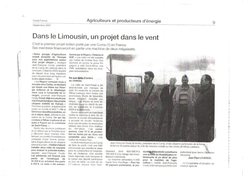 Dans le Limousin, un projet dans le vent - Ouest France - Septembre 2007