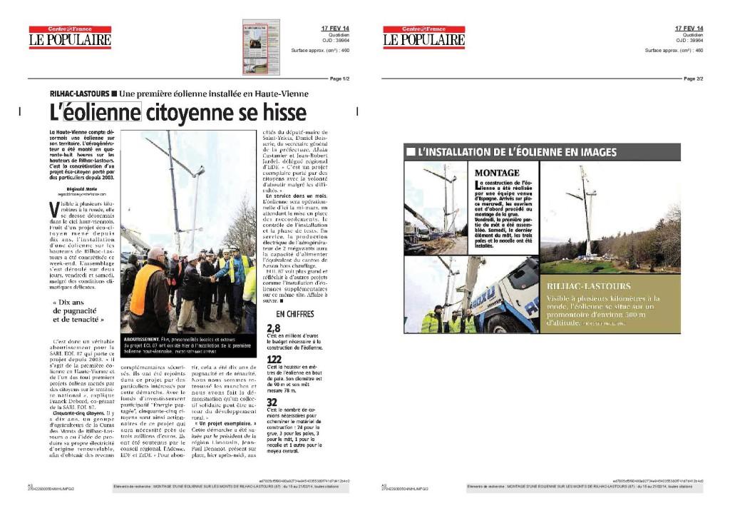 L'éolienne citoyenne se hisse - Le Populaire du Centre - Fevrier 2014