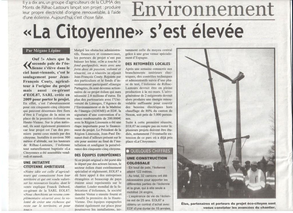"""""""La Citoyenne"""" s'est élevée - L'Echo - Fevrier 2014"""