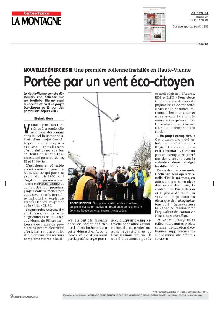 Portée par un vent éco-citoyen - La Montagne - Février 2014