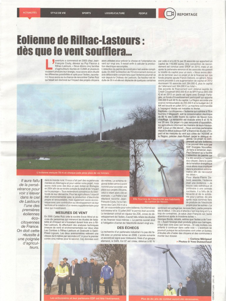 Eolienne de Rilhac-Lastours : Dès que le vent soufflera - Info magazine - Mars 2014